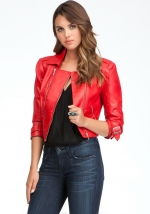 Red Leatherette Moto Jacket at Bebe