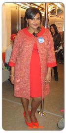 Red Maternity Coat at Salvador Perez