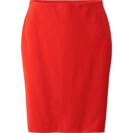Red Pencil Skirt at Uniqlo