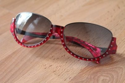 Red Rhinestone Sunglasses at Alain Mikli