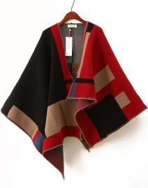 Red and Black Asymmetric Wool Blend Cape at She In