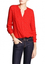 Red and white printed blouse at Mango