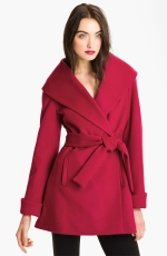 Red belted wrap coat by Trina Turk at Nordstrom