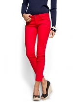 Red cropped jeans at Mango
