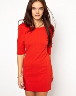 Red elbow sleeve mini dress at Asos