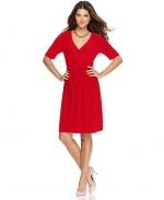 Red faux wrap dress at Macys at Macys