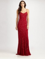Red glitter evening gown at Saks Fifth Avenue