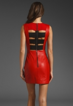 Red leather dress on New Girl at Revolve