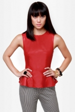 Red leather peplum top from Lulus at Lulus