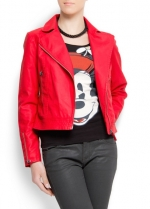 Red moto jacket at Mango at Mango