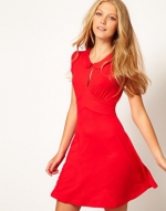 Red peter pan collar dress from ASOS at Asos