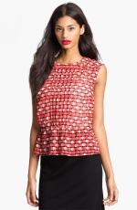 Red pleated front top like Carries at Nordstrom