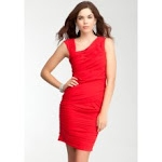 Red ruched dress from Bebe at Bebe