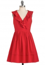 Red ruffle dress from Modcloth at Modcloth