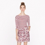 Red sailor striped drapey tee at J. Crew