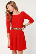 Red sleeved dress from Lulus at Lulus