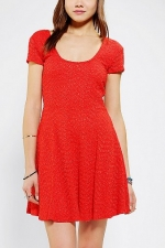 Red textured dress at Urban Outfitters at Urban Outfitters