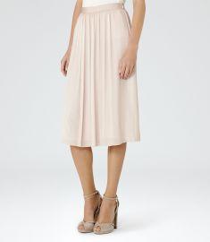 Reiss Adalie Pink Linen Plisse Midi Skirt at Reiss