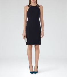 Reiss Lace Detail Dress Night Navy at Reiss