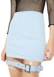 Replicant Clear Paneled Denim Skirt at Dolls Kill
