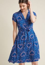 Retro Collared Shirt Dress in Blue Hearts at ModCloth