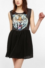 Reverse Tiger Face Dress at Urban Outfitters
