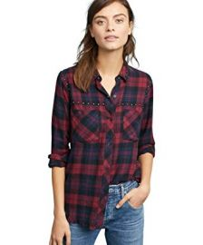 Rex Plaid Button-Front Studded Shirt at Amazon