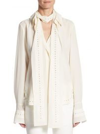 Rhinestone Tie Neck Blouse Chloe at Saks Fifth Avenue