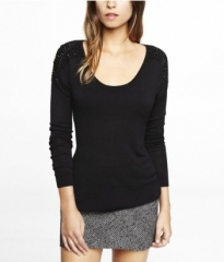 Rhinestone shoulder tee at Express