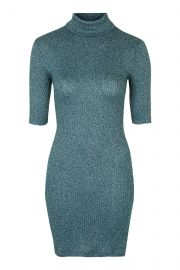 Rib Roll Neck Dress at Topshop