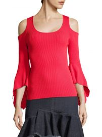 Ribbed Cold-Shoulder Bell-Sleeve Sweater Scripted at Saks Fifth Avenue