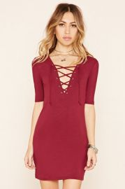 Ribbed Lace-Up Bodycon Dress at Forever 21
