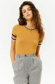 Ribbed Striped-Trim Cropped Sweater at Forever 21