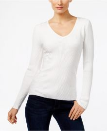 Ribbed V-Neck Sweater at Macys