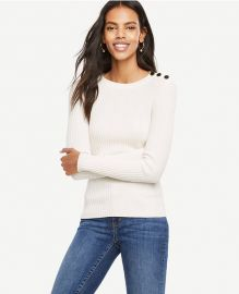 Ribbed shoulder button sweater at Ann Taylor