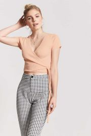 Ribbed surplice top at Forever 21