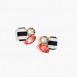 Ribbon and Stone Cluster Earrings at J. Crew