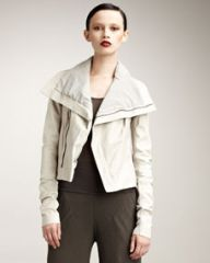 Rick Owens Distressed Leather Jacket Gray at Neiman Marcus