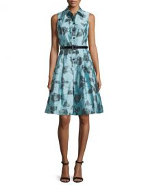 Rickie Freeman for Teri Jon Sleeveless Belted Floral Shirtdress at Neiman Marcus
