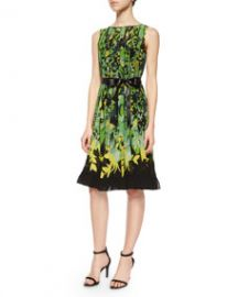 Rickie Freeman for Teri Jon Sleeveless Floral Pintucked Dress at Neiman Marcus