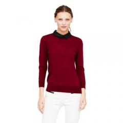 Riley leather collar sweater in burgundy at Club Monaco