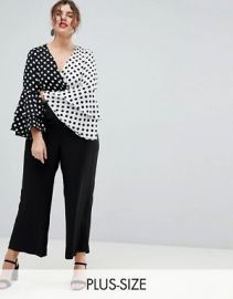 River Island Plus Polka Dot Frill Sleeve Jumpsuit by ASOS at ASOS