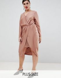 River Island Plus wrap dress with wrap detail in pink at asos com at Asos