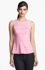 Ro andamp De Sheer Yoke Peplum Top at Nordstrom