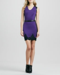 Robert Rodriguez Belted Two-Tone Lace-Trim Dress at Neiman Marcus