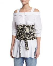 Robert Rodriguez Floral Embroidered Tie-Waist Corset at Neiman Marcus