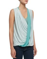 Robert Rodriguez Jersey Wrap-Stripe Sleeveless Top at Neiman Marcus