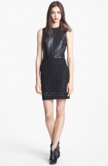 Robert Rodriguez Leather andamp Grommeted Stretch Cotton Dress at Nordstrom