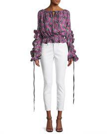 Robert Rodriguez Orchid-Print Ruffle Long-Sleeve Silk Blouse at Neiman Marcus