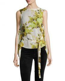 Robert Rodriguez Sleeveless Floral Top W  Back Drape  Yellow at Neiman Marcus